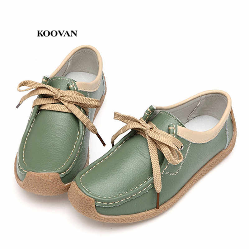 Koovan Women's Genuine Leather Flats Thick Bottom Mother Shoes Young Lady Tendon Soft Bottom Non-slip Casual Bean Shoes