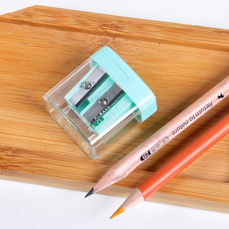 ثقوب مزدوجة البلاستيك برايات أقلام رصاص حلوى لون شفاف القياسية قلم رصاص آلة قطع طالب مدرسة مكتب القرطاسية