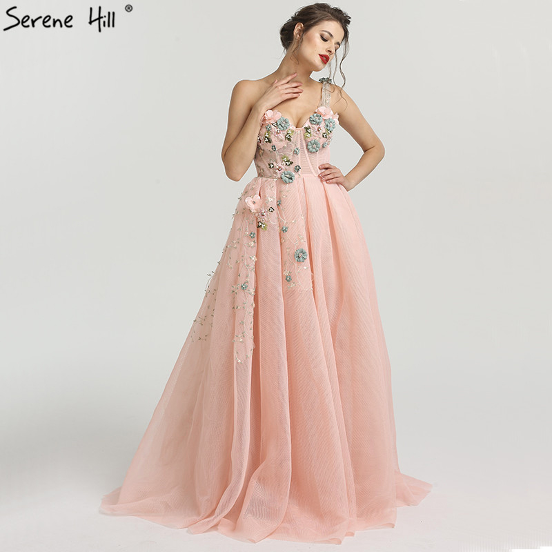 One Shoulder Fashion Sexy Newst Evening Dresses 2019 Flowers Pearls Sleeveless Formal Evening Gowns Serene Hill LA6512(China)