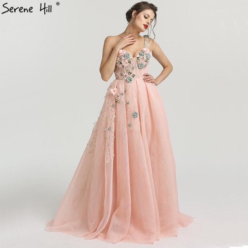 Eine Schulter Mode Sexy Newst Abendkleider 2019 Blumen Perlen Ärmel Formale Abendkleider Ruhigen Hill LA6512