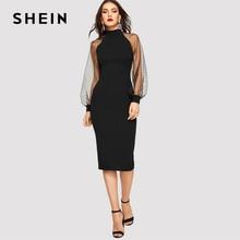 Shein 파티 블랙 또는 블루 연필 bodycon 복장 자카드 대비 메쉬 랜턴 슬리브 봄 여성 긴 소매 솔리드 드레스