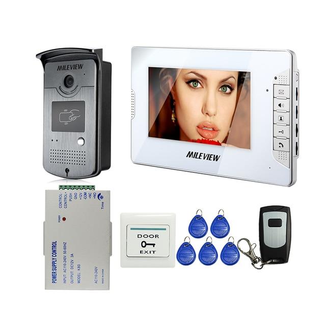 "MILEVIEW 7"" Color Screen Video DoorPhone Intercom System 1 Monitor + 1 700TVL RFID Access Camera + Remote Control FREE SHIPPING"