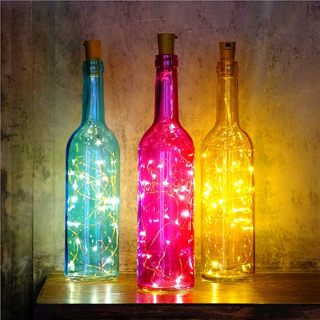 1x new romantic colorful wine bottle with 2m20led warm white bottle cork copper light magic jar