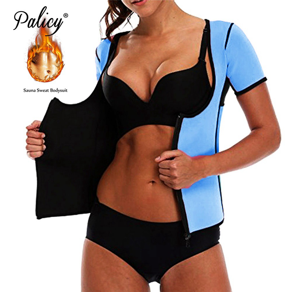 Palicy Waist Trainer Body Shaper for Women Neoprene Slimming Tank Top Sportes Suit Tummy Fat Burner Weight Loss Short Sleeves