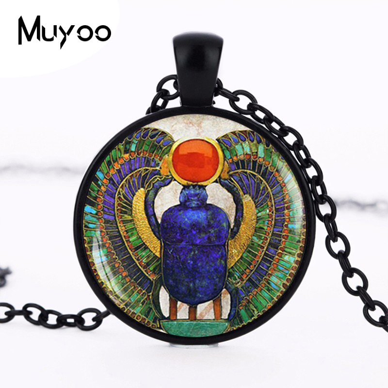 Wholesale 27MM Round Glass Dome Egyptian Scarab Pendant Choker Necklace Ancient Egypt Jewelry Egypt Necklace HZ1