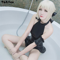 Japanese Anime Fate Zero Saber Swimsuit One Piece Sexy Black Cosplay Costume Tankini Swimwear Slim Body