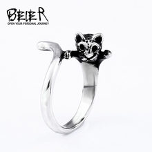 BEIER stainless steel Animal Cat Ring Vintage Anel Punk Kitty Wedding Ring Boho Chic Retro Cat Rings for man women BR8-651(China)