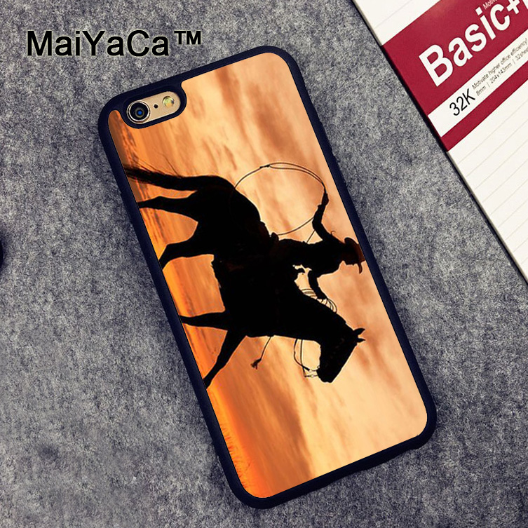 MaiYaCa Cowgirl Horse Sunset Soft TPU Cases for iPhone 6 6s Case Back Cover for Apple iPhone 6 6s Mobile Phone Capa