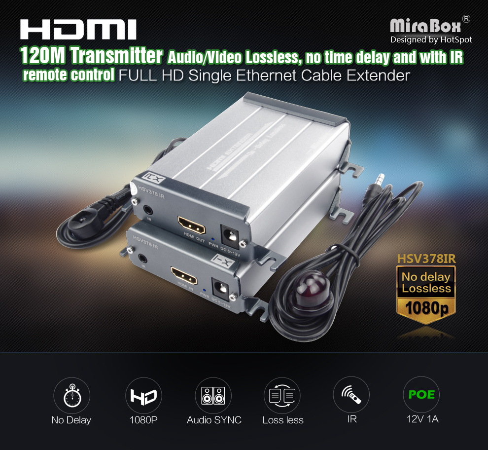 HDMI Ethernet Extender IR 1 TX to 1 RX With Video Lossless and No Latency Time Full HD Over CAT5e6 UTP Cable rj45 HDMI TX RX (1)