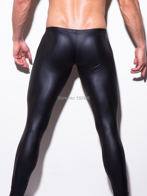 male faux leather pants sexy man body tights legging lift body shaper undergarment pouch men Stage costumes nightclubs