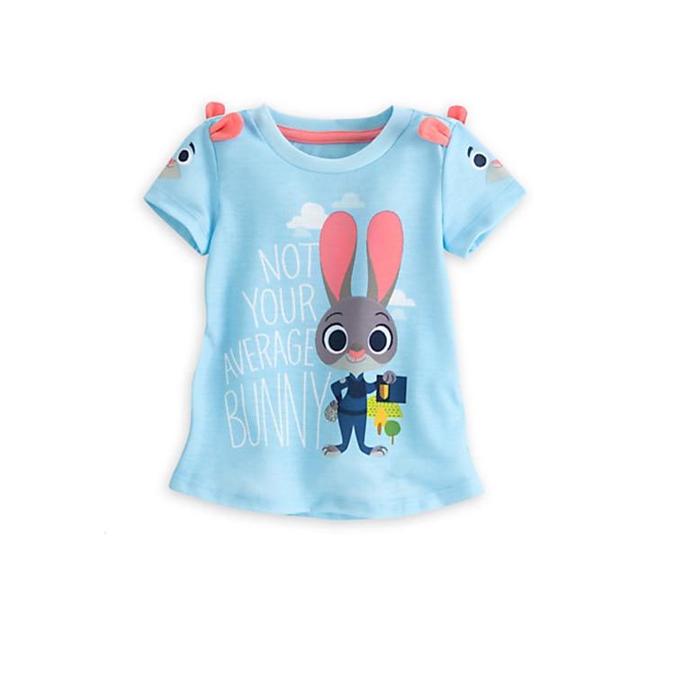 Cotton Cartoon Shirt Children Crazy Animals City T Shirt For Girls Boys Clothes Short Sleeve Rabbit