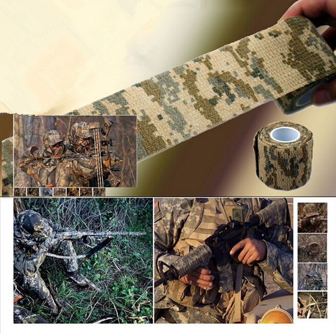 1 Roll Outdoor Camo Stretch Bandage , Camping Hunting Camouflage Tape , Suitable For Mountainous Area