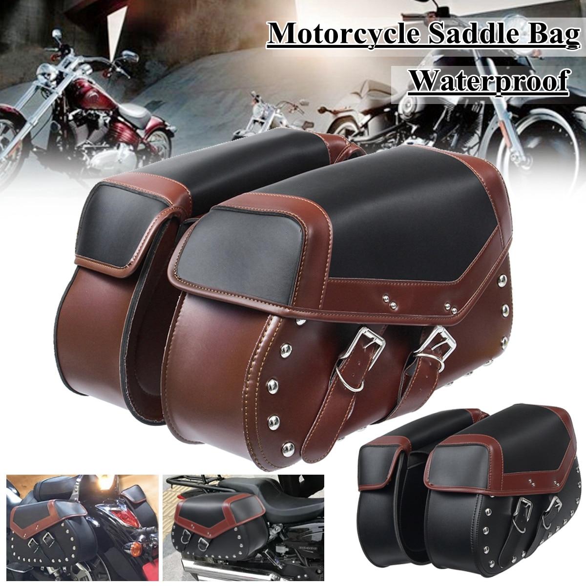 цена на 2pcs Universal Motorcycle Saddle Bags Bike Side Storage Fork Tool Pouchfor Harley/Honda