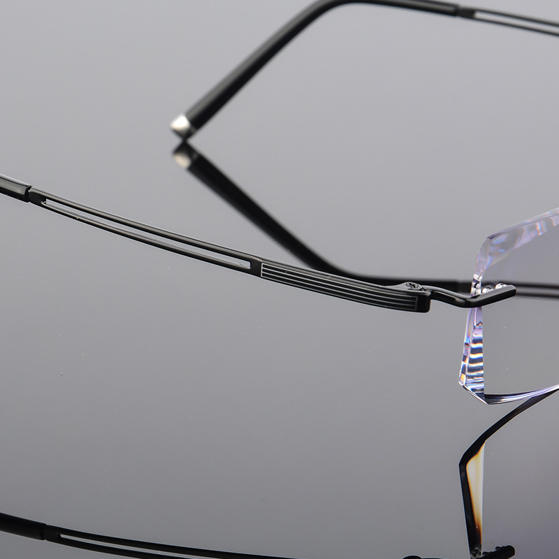 Brillen Luxus Computer Hohe Lesebrille Qj Damen grau Männer Linsen Myopie Diamanten Gläser Schwarzes 2018 Randlose Titan Klar Design xqEOwSS8X