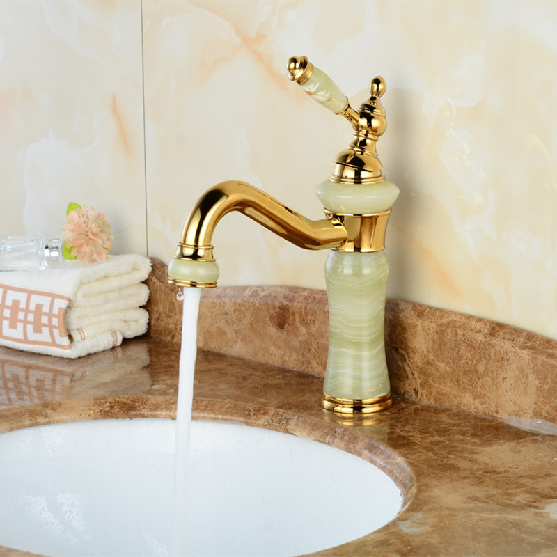 Jade stone golden basin sink faucet with single hole brass gold ...