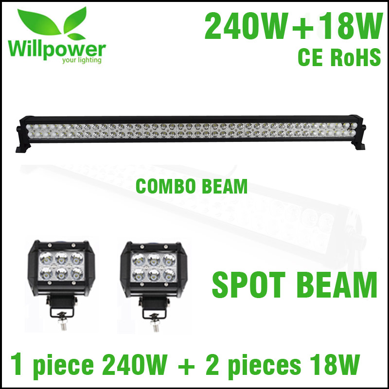 6500K 240W led light bar work offroad car with 2 pieces led work light 4inch 18w spot beam