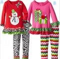 New 2016 Girl Christmas Sets Red Long Sleeve Christmas Tree Tutu Dress Bowknot Leggings Clothes Sets Kids Christmas Costume