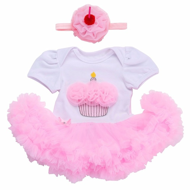 Mädchen Baby Kleid Geburtstag Für Neugeborene Stirnband Set, Neue ...