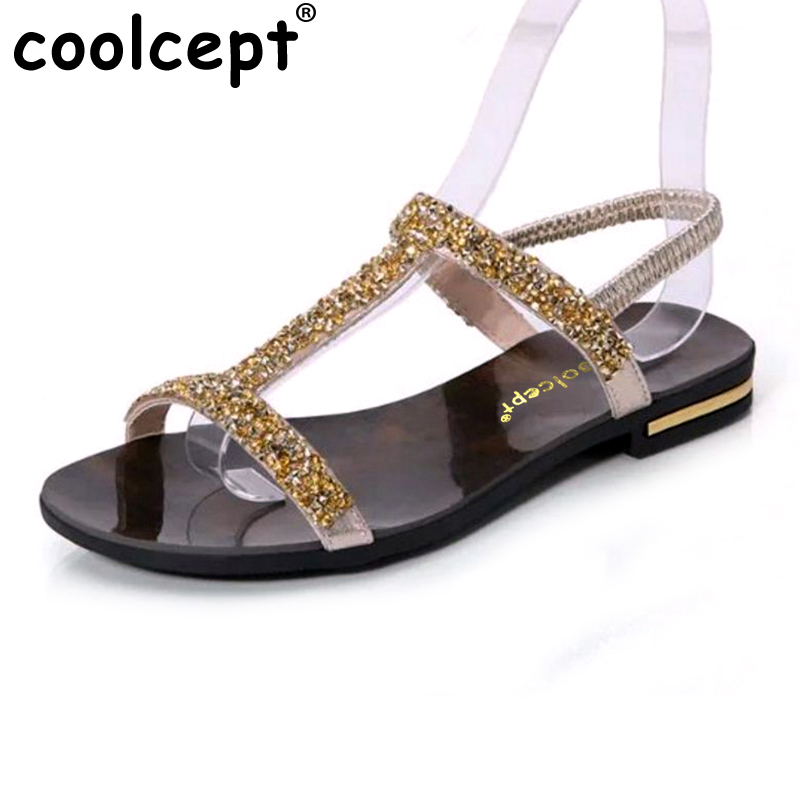 Coolcept Summer Women Sandals Rhinestone Flats Sample Sweet Slip On Leisure Shoes Ladies Bling Fashion Sandal Footwear Size35-39 pink vietnam sandals flats female summer outdoor leisure shoes