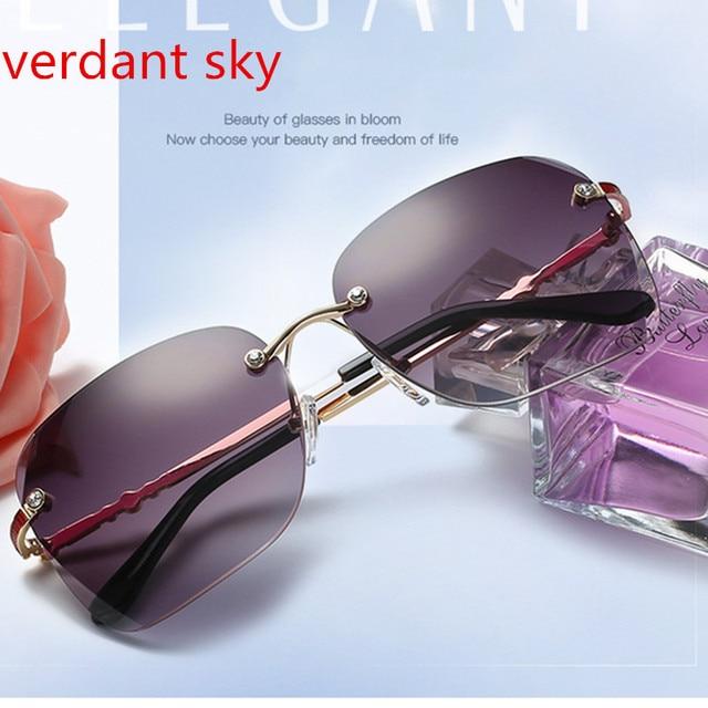 fb8e55a4177 2018 fashion Rimless Sunglasses Women Pink Mirror Reflective Sun Glasses  Alloy Legs Elegant Style Glasses Original Design oculos