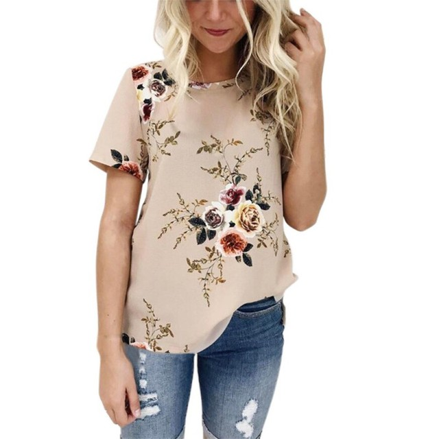 5a7e7b513e1c24 Women Summer O-neck Floral Print Short Sleeve T Shirt Loose Ladies Casual T  Shirts Beach Tops Tee Top Vocation Chill Wears