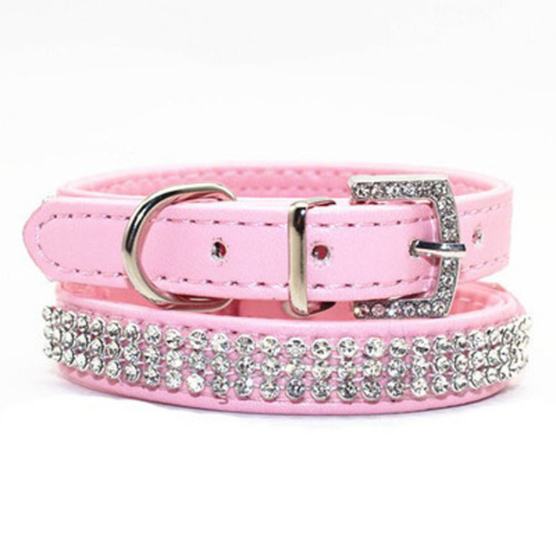 Bling Pet Dog Collar Led Pet Katte PU Læder Hund Kollier Perros Rhinestone Buckle Puppy Halskæde Til Små Hunde Pet Accessories
