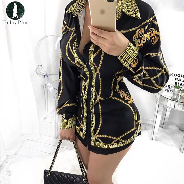 cd5956000c090 Fashion Blouse 2018 Plus Size Women Clothing Gold Chain Printed Long Sleeve  Deep V-neck Autumn Shirt Casual Female Blouse Top