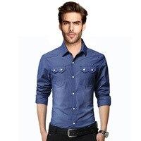 2016 אופנה קיץ Mens חולצות ז 'אן מים כביסה של בגדי גבר מוצק שרוול מלא בגדי ג' ינס Slim Fit משלוח חינם