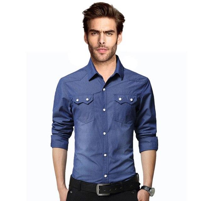 c1db48936b4c8 2016 verano moda hombres Jean camisas lavado de agua manga completa sólido  ropa hombre Slim Fit