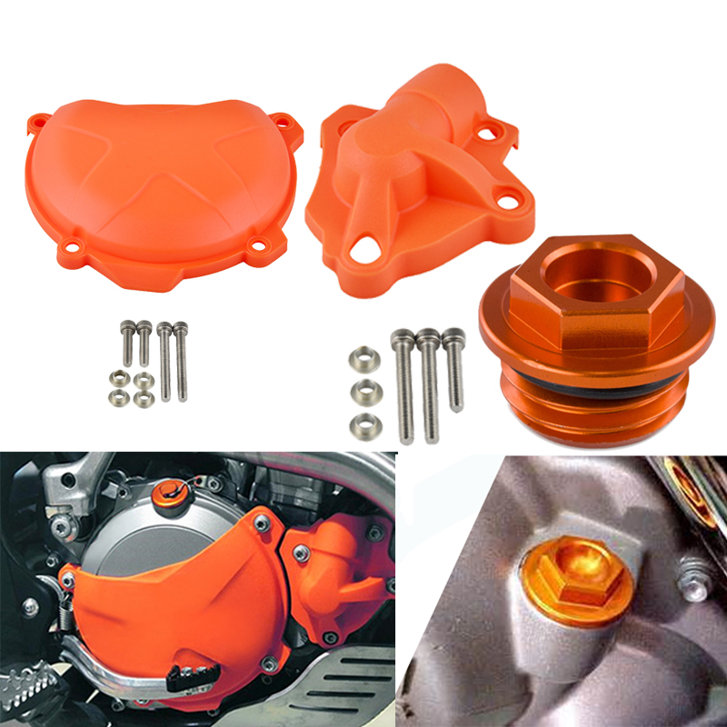 Clutch Cover Water Pump Guard Protector Oil Fuel Filler Cap For KTM 250 350 SXF EXCF XCF XCFW Freeride SIX DAYS SX-F EXC-F XCF-W