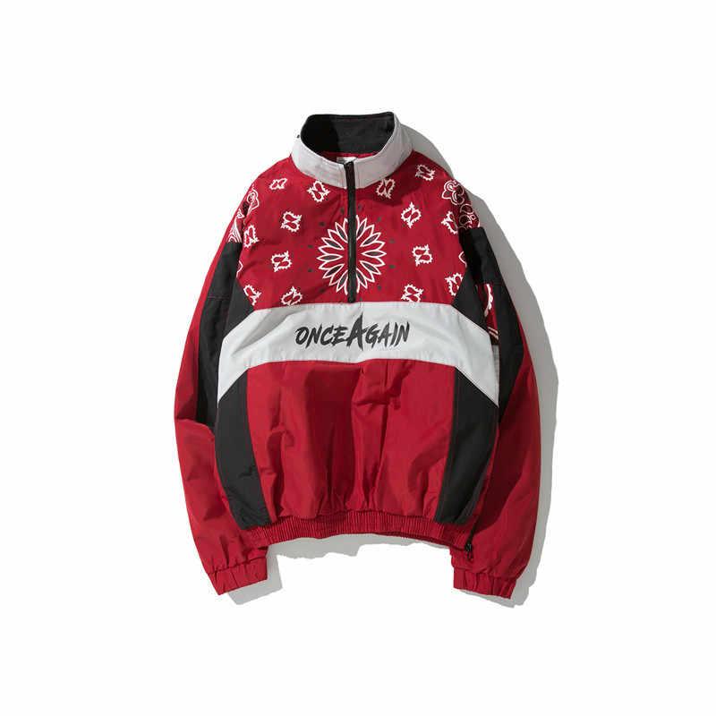 2019 ストリートジャケット男性春秋ヴィンテージストリート花プリントパッチワークハーフジップウインドブレーカーヒップホップカジュアルジャケット