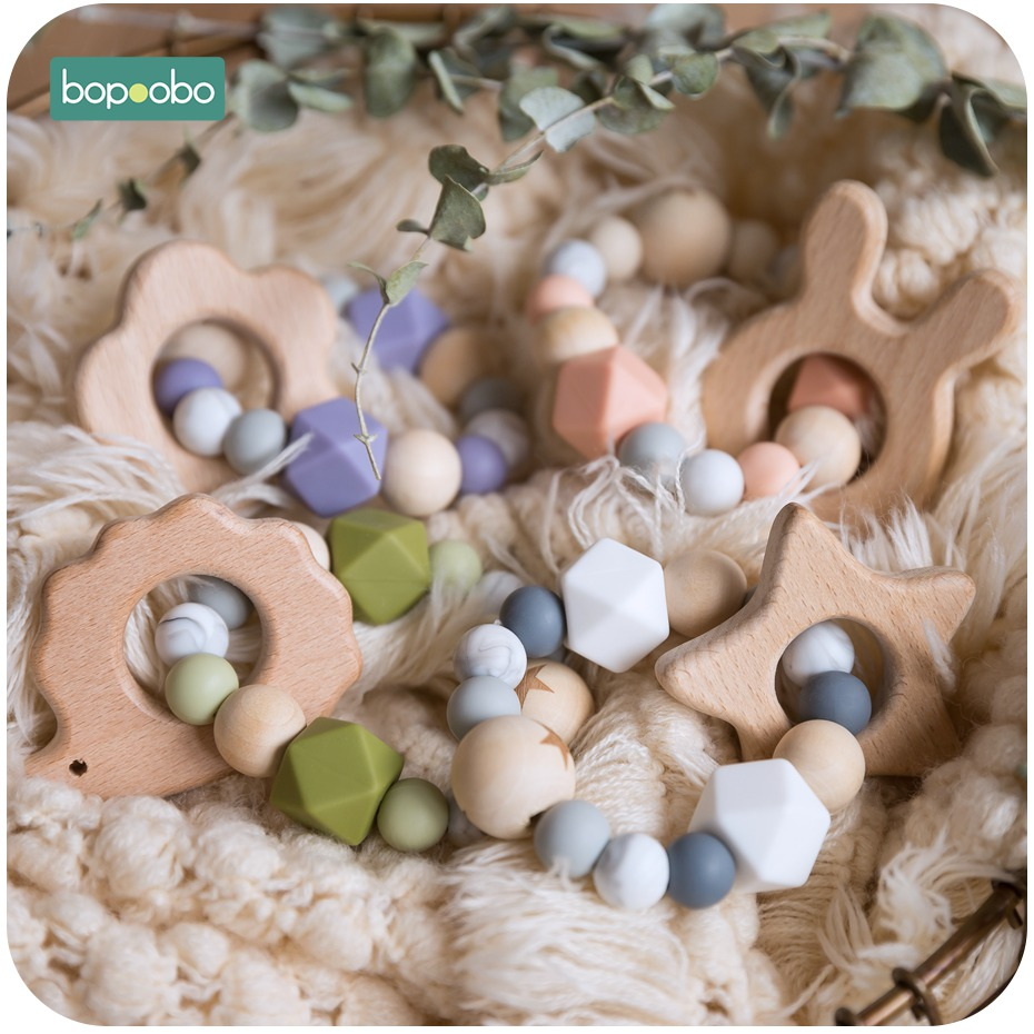 Bopoobo 1pc Baby Rattle Beech Rabbit Wood Teething Beads Silicone Teether Bracelets Montessori Toys For Children Baby Gift Toys