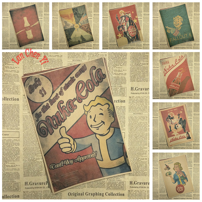 Fallout Classic Game Kraft Paper Poster Bar Cafe Living Room Dining room Wa..