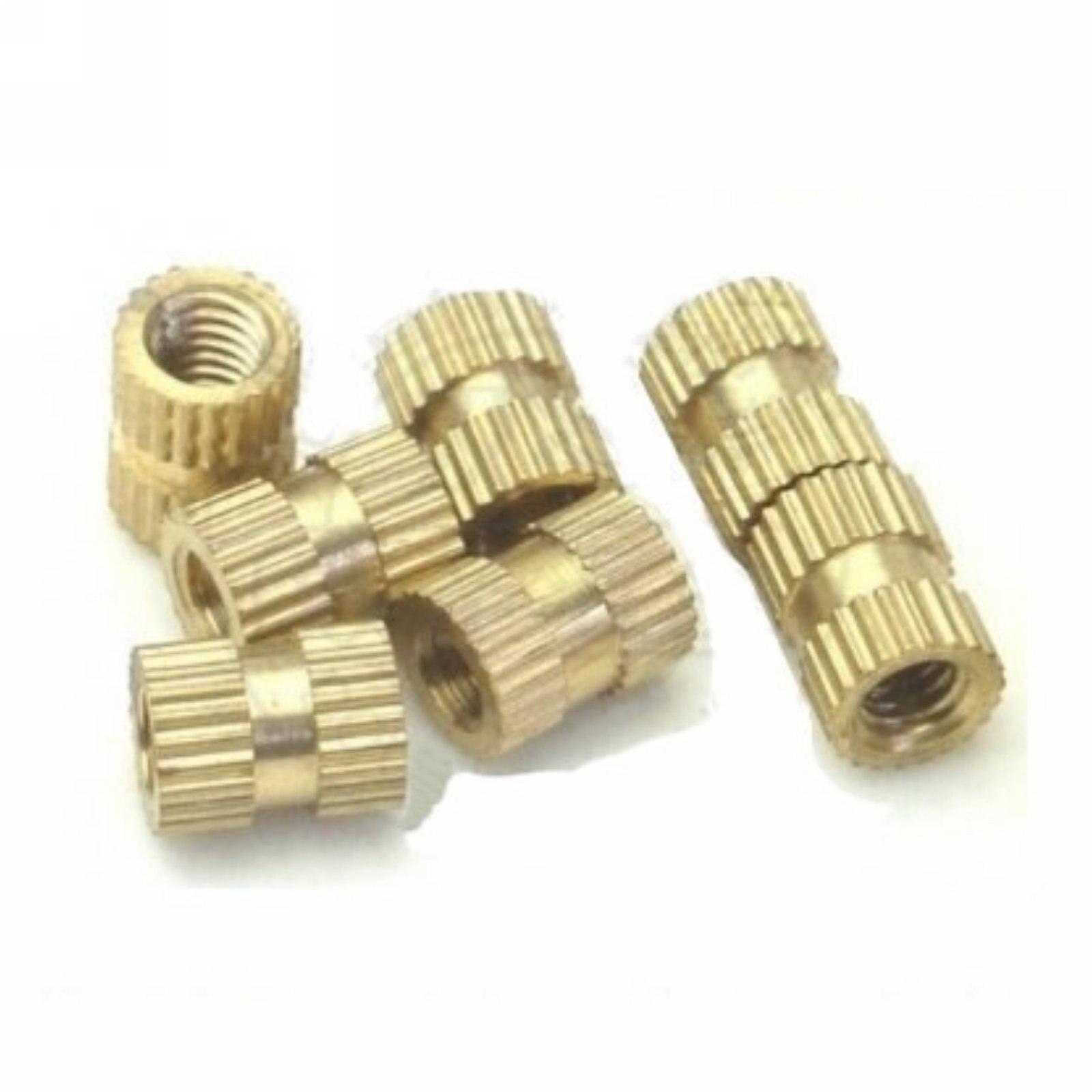ФОТО Lot100 Brass Knurl Nuts M6*16mm(L)-8mm(OD) Metric Threaded Fasteners