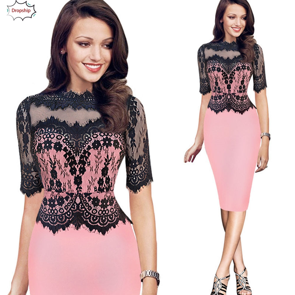 2020 Women Winter New Vintage Lace Bodycon Pencil Evening Party Dress Ladies Casual Bodycon Short Daily Dress Dec7