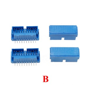 Image 3 - YuXi 2pcs/lot USB 3.0 20pin 19pin male connector 90 /180 degree motherboard chassisplugged plate IDC 20 pin connector socket