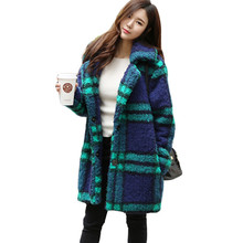 Winter New Wool Coat Korean Loose Plus Size Plaid Woolen Outerwear Cocoon Medium Long Thicken Warm Cashmere Overcoat SS991