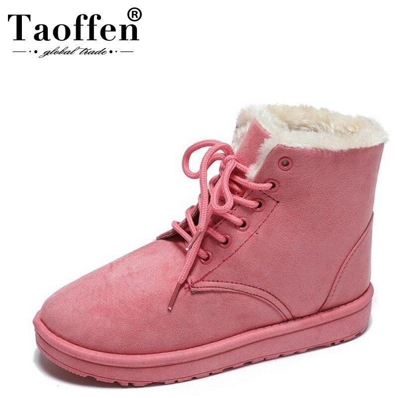 Taoffen Women Winter Boots Plush Fur Shoes Women Warm Snow Boots Cross Strap Ankle Boots Fashion Office Ladies Shoes Size 36-40