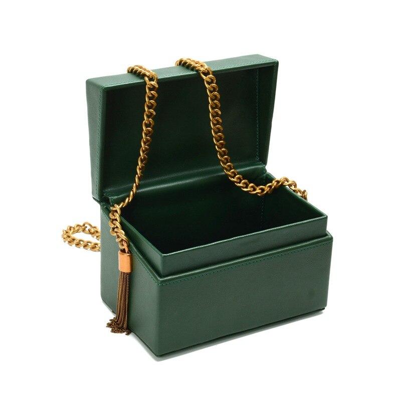 2018 New Arrival Retro Style Box Bag Luxury Handbags Women Bags Designer Chain Tassel Evening Totes Bag Box Clutch Purse 2015 new arrival acrylic bow clutch bag day storage box clutch bags women handbag brand designer transparent chain women wallets