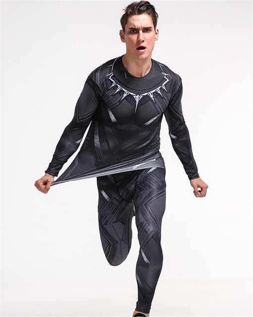 159a25db982 long-sleeved tight t shirt+pants Avengers Black Panther cosplay costume  sleeved T-shirt men s sportswear fitness tee shirt