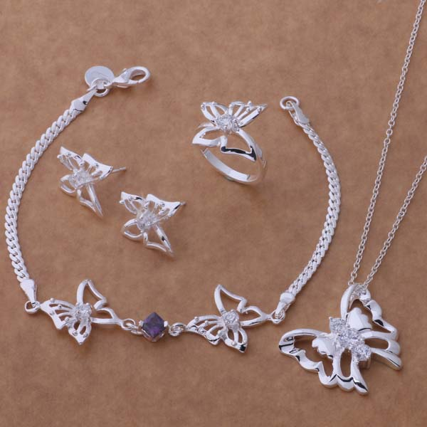 AS304 Hot 925 sterling silver Jewelry Sets Bracelet 206 + Necklace 166 + Earring 397 + Ring 158 /amaajdha asnajjua