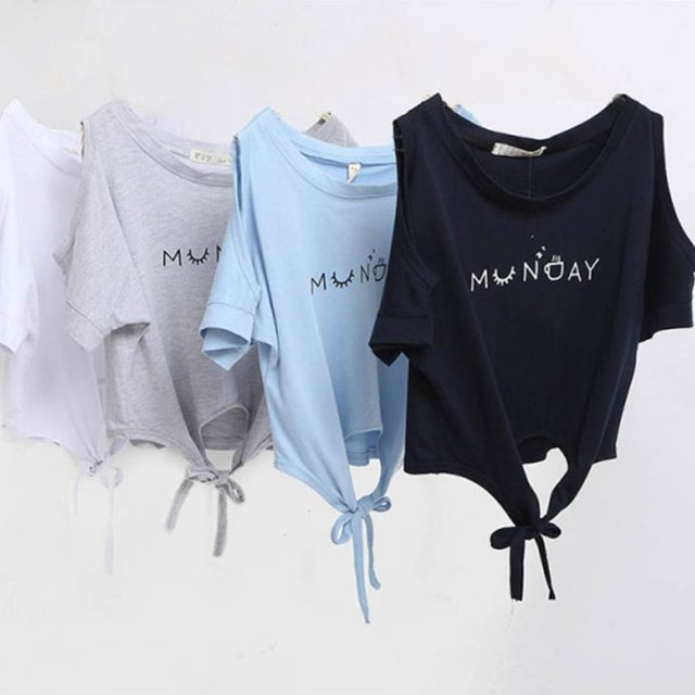 5724c147113 Women Clothes Summer T-shirt Elegant Letter Shoulder Off Print Crop Top  Short Sleeve O-neck Shirt Loose Tops
