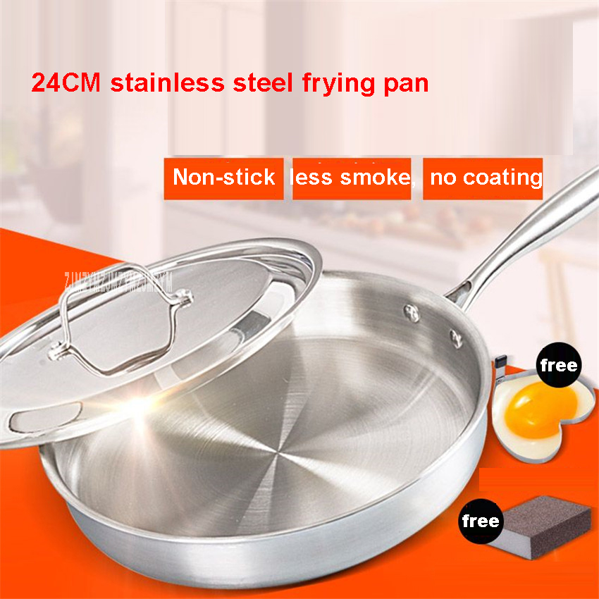 General Family Stainless Steel / Thickening / No Coating / Non Stick / No Oil Smoke / Anti skid Anti Heat Handle 24CM frying pan