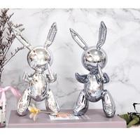 Nordic Abstraction Animal Decoration Jeff Koons Shiny Balloon Rabbit Art Figurine Resin Craftwork Coffee Shop Ornaments X1629
