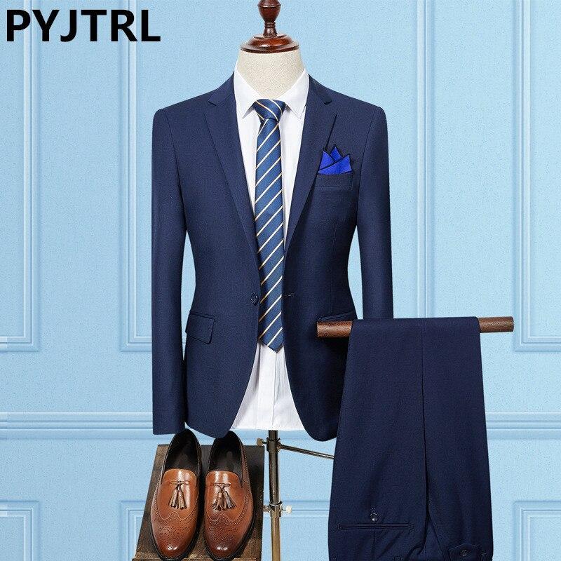 PYJTRL Two-piece Set Male Korean Solid Color Suits Latest Coat Pant Designs Men Formal Suit Wedding Suits 2017 Royal Blue Tuxedo