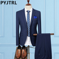 PYJTRL Two Piece Set Male Korean Solid Color Suits Latest Coat Pant Designs Men Formal Suit
