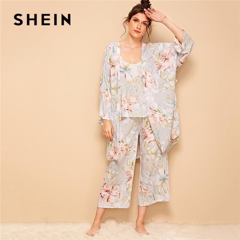 SHEIN Floral Print Cami Pajama Set With Robe Women Summer Casual Sleepwear Spaghetti Strap Long Sleeve Belted Ladies Robe Set