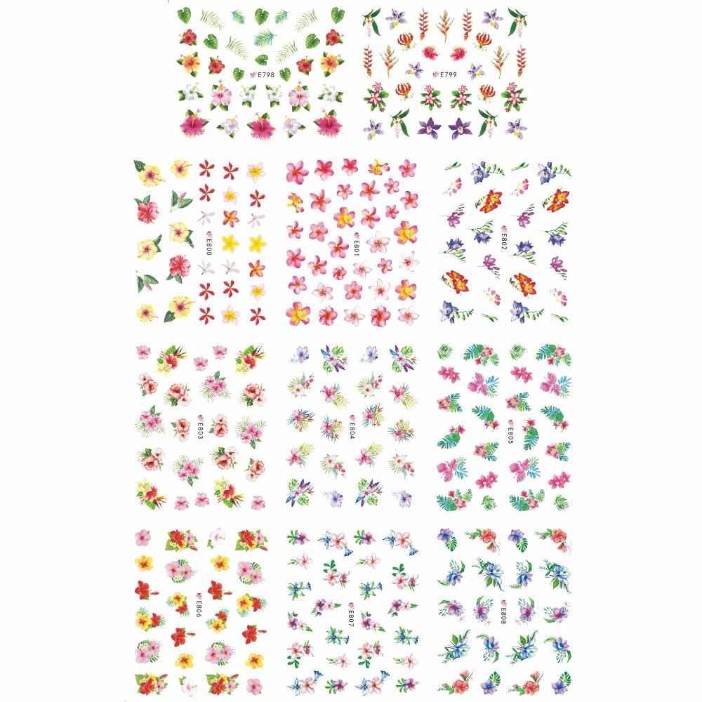 11 STKS/PARTIJ SIMULATIE SELF-ADHESIVE 3D NAIL TATTOOS STICKER SCHILDPAD SHELL BANANA TREE BAMBOE BLAD BLOEMRIJKE BOEKET SET E798-808