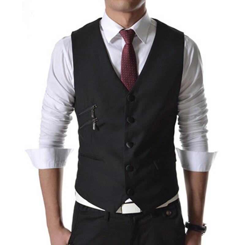 2015 Neue Mode Beiläufige Dünne Herren Weste Reißverschlusstasche Dekoration Stilvolle Mens Blazer Weste Größe M-2xl 4 Farben