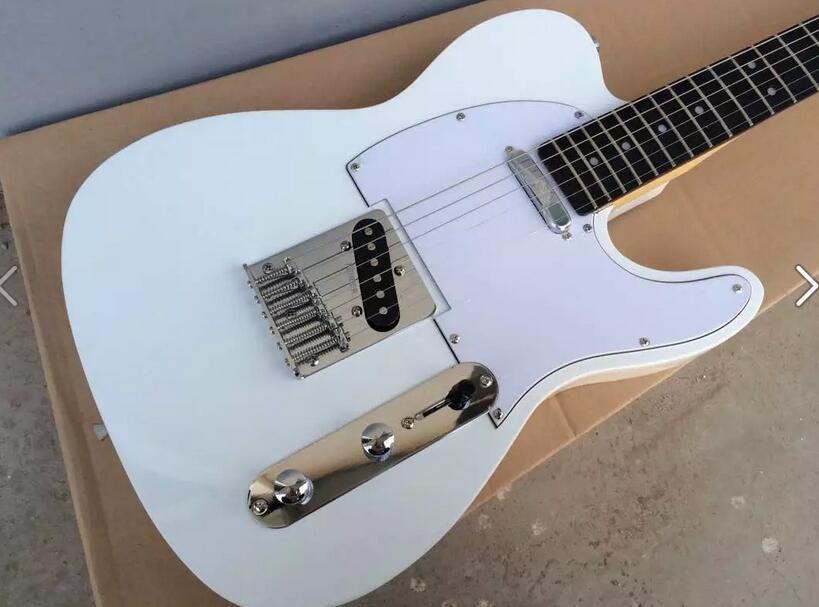Guitare électrique blanche personnalisée en usine, planche de protection blanche, planche à doigt rose, livraison gratuite.